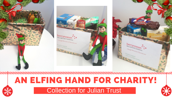 Image of collection box at Berry Rowan office for Christmas charity cause